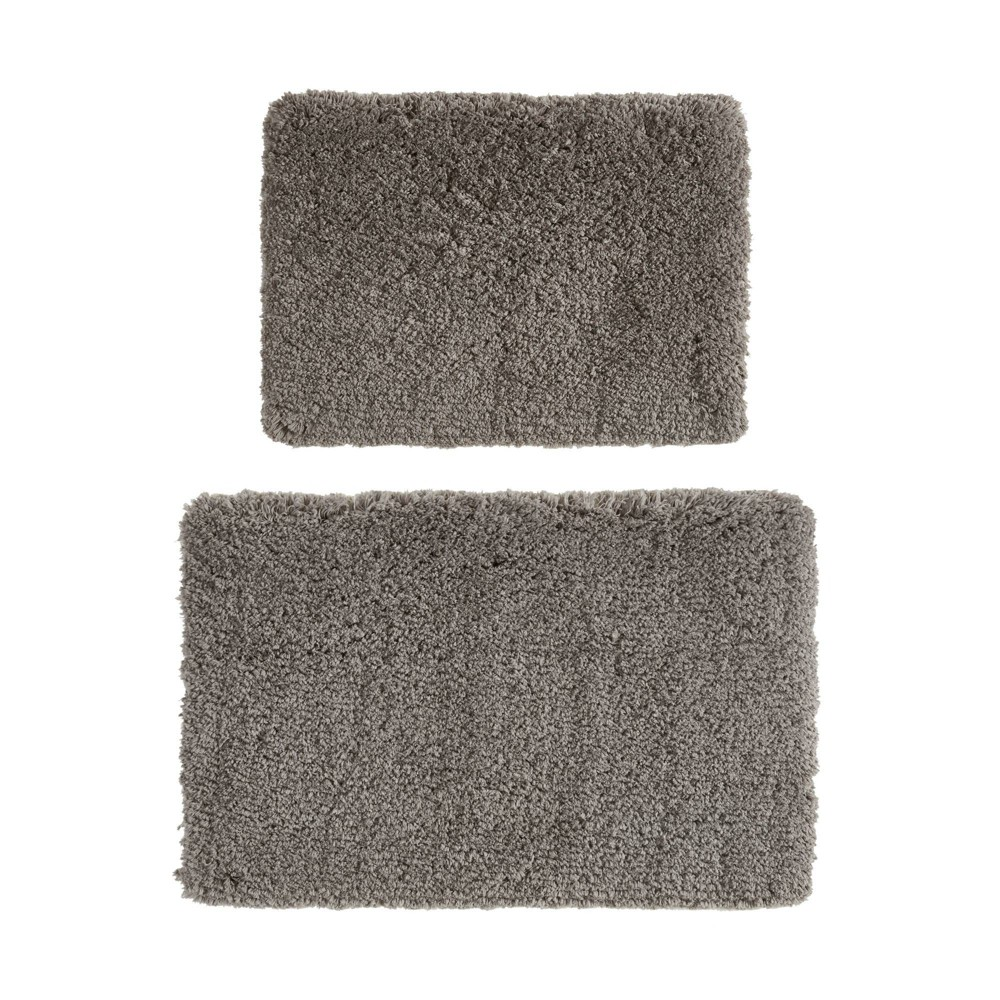 "Image of ""17""""x24"""" 2pc Juno Tufted Solid Bath Rug Set Charcoal, Grey"""
