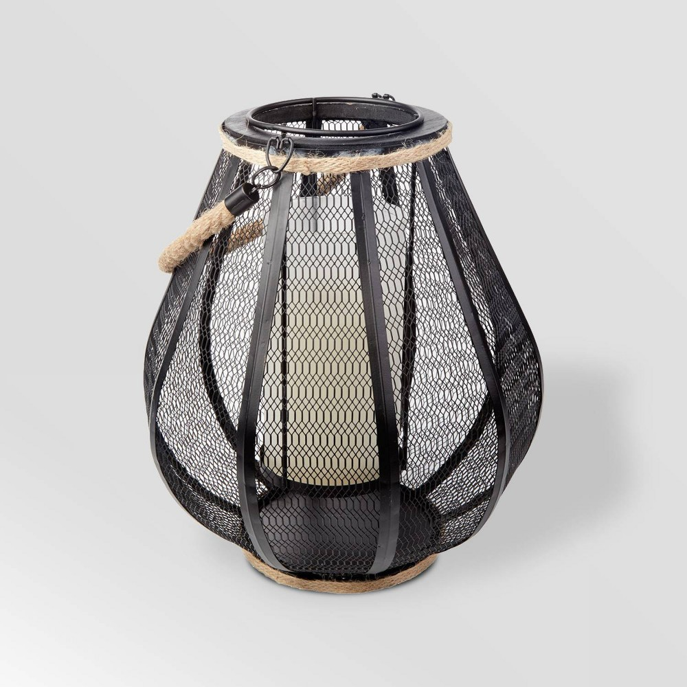 "Image of ""11"""" LED Dahl Mesh Outdoor Lantern with Dancing Flame Black - Smart Living"""