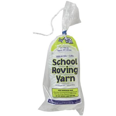Pacon 3-Ply Jumbo-Weight School Roving Yarn, 450 ft Poly Dispenser, White, 8 oz Skein