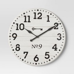 "26"" Farmhouse Wood Wall Clock White - Threshold™"