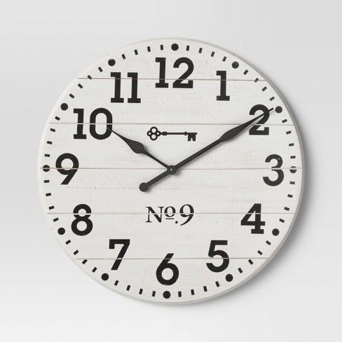 "26"" Farmhouse Wood Wall Clock White - Threshold™ - image 1 of 3"