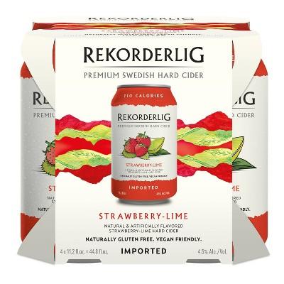 Rekorderlig Strawberry Lime Hard Cider - 4pk/11.2 fl oz Cans