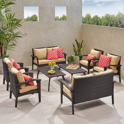 Waikiki 8pc Wicker Patio Seating Set & Cushions - Christopher Knight Home