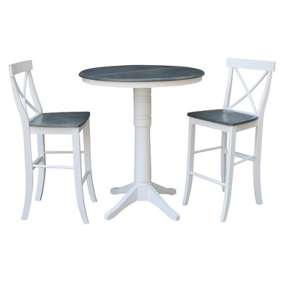 """36"""" Lester Round Extension Dining Table with 2 X Back Stools - International Concepts"""