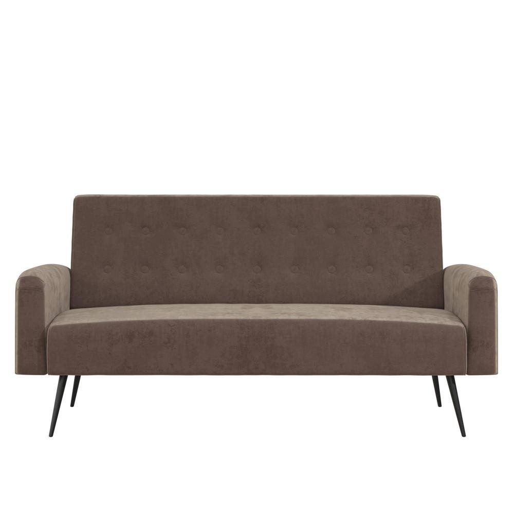 Image of Stevie Futon Convertible Sofa Bed & Couch Tan Velvet - Novogratz