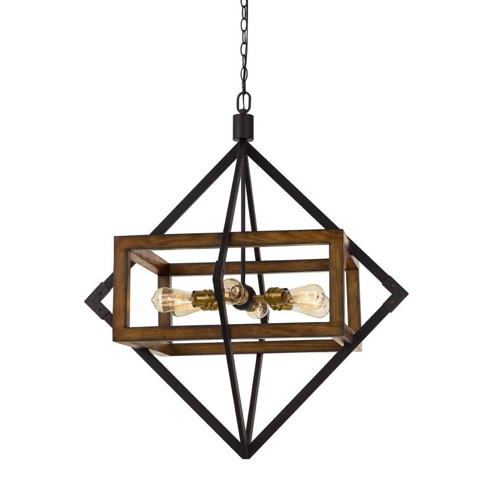 60W X 6 Venosa Wood/Metal Chandelier Ceiling Light - Cal Lighting, Multi-Colored