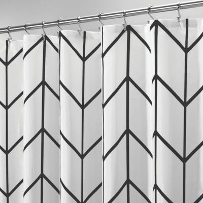 mDesign Black & White Shower Curtain