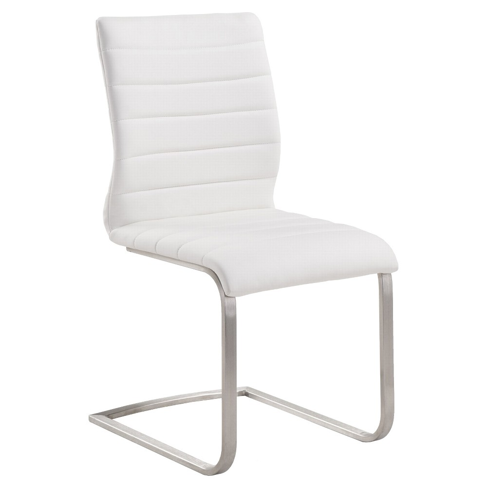 Fusion Contemporary Dining Chair - White And Stainless Steel (Set of 2) - Armen Living