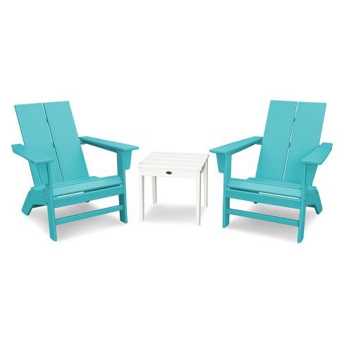 St Croix 3pc Contemporary Adirondack Set Aruba White Polywood