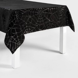 Metallic Spiderweb Halloween Tablecloth Black/Silver - Hyde & EEK! Boutique™