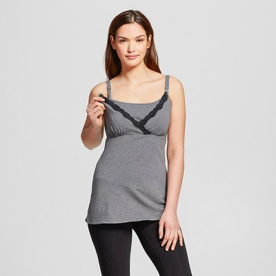 Women's Nursing V-Neck Cami with Lace Dark Heather Gray L - Gilligan & O'Malley™