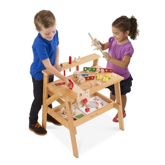 Melissa & Doug Solid Wood Project Workbench Play Building Set image number null
