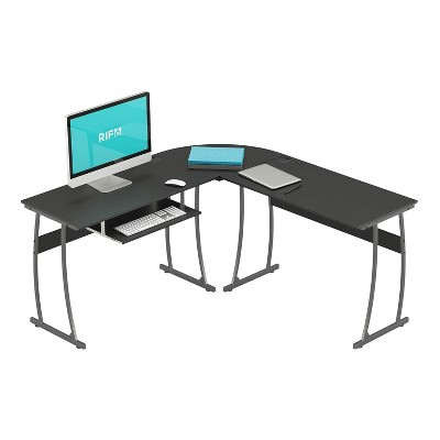 RIF6 L Shaped Modern Computer Home Office Gaming Desk with Keyboard Tray and Cable Management, Easy Assembly, Black