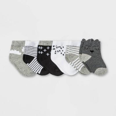 Baby 6pk Crew Socks - Cloud Island™ Black/White 0-6M