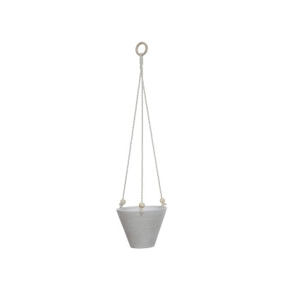 Large Embossed Stoneware Hanging Planter with Cotton Rope & Wood Beads Matte White - 3R Studios