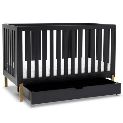 Delta Children Hendrix 4-in-1 Convertible Crib Under Crib Roll-Out Storage - Midnight with Metal Base