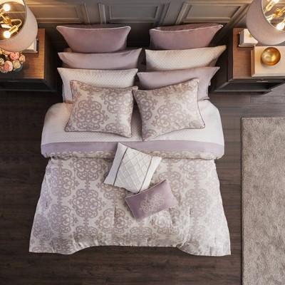 Aurlie Queen 16pc Jacquard Bedding Set Purple