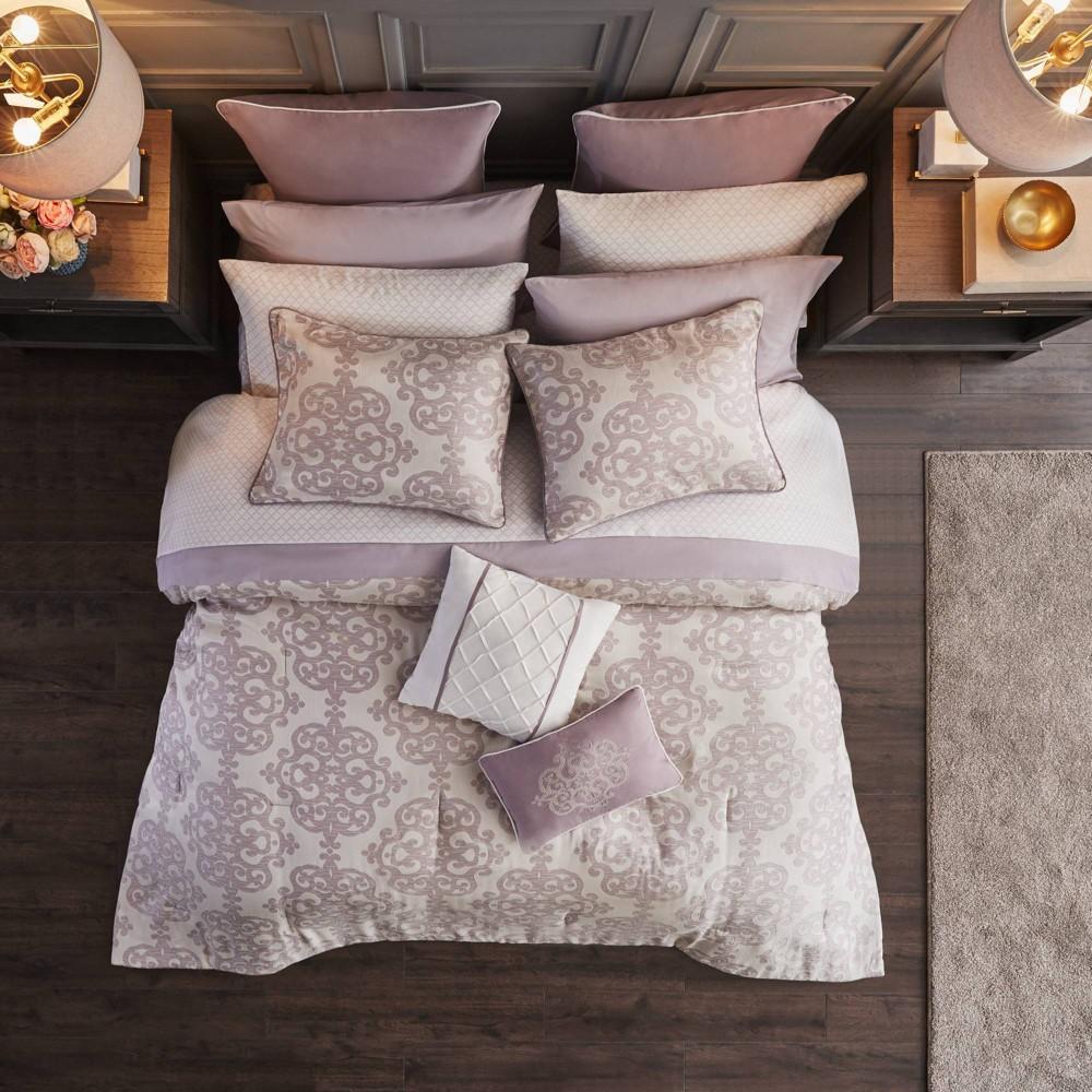 Aurlie King 16pc Jacquard Bedding Set Purple