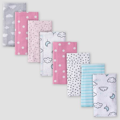 Gerber Baby Girls' 8pk Clouds/Rainbows Flannel Burp Cloth Set - Gray/Pink