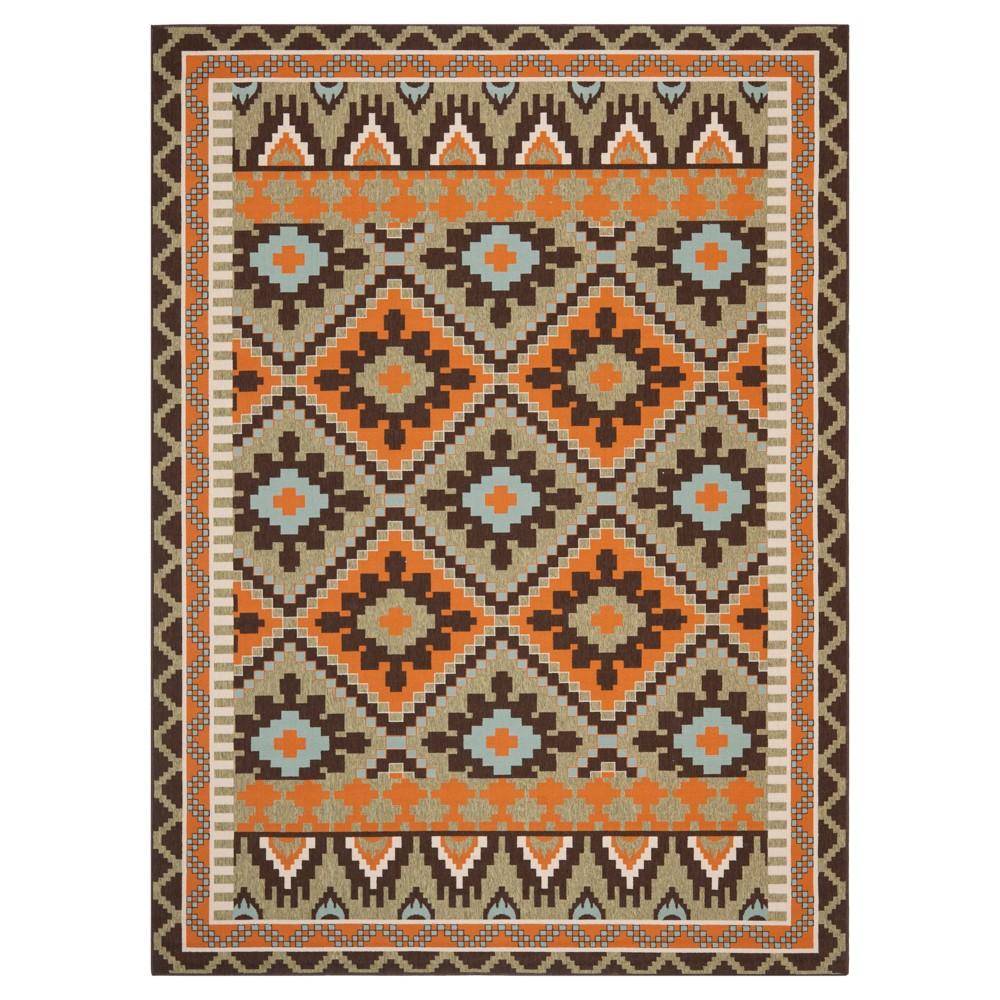 Saleem Indoor/Outdoor Area Rug - Green/Terracotta (8'x11'2) - Safavieh