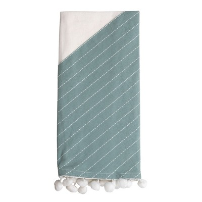 Green Striped 27 x 18 Inch Woven Kitchen Tea Towel with Hand Sewn Pom Poms - Foreside Home & Garden