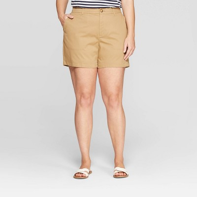 """Women's Plus Size 5"""" Chino Shorts With Comfort Waistband   Ava &Amp; Viv by Ava & Viv"""