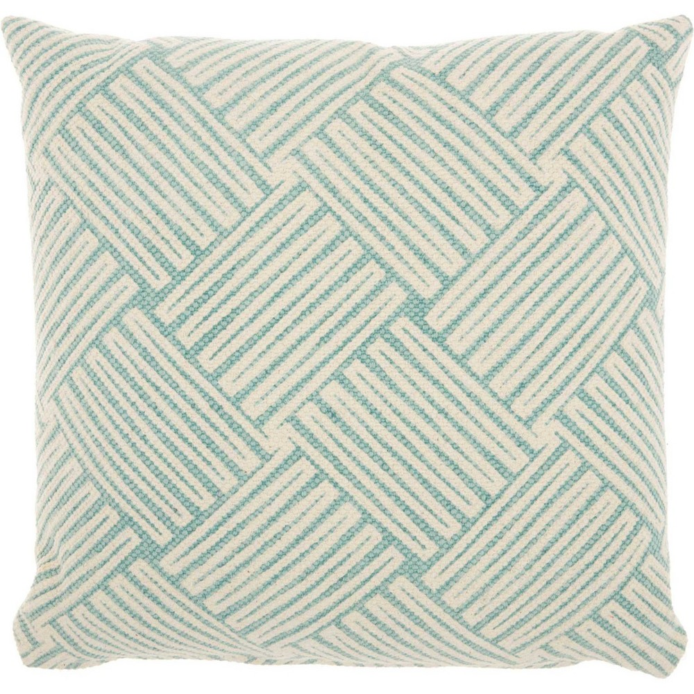 Basketweave Mineral Oversize Square Throw Pillow Sky Blue - Studio Nyc Design