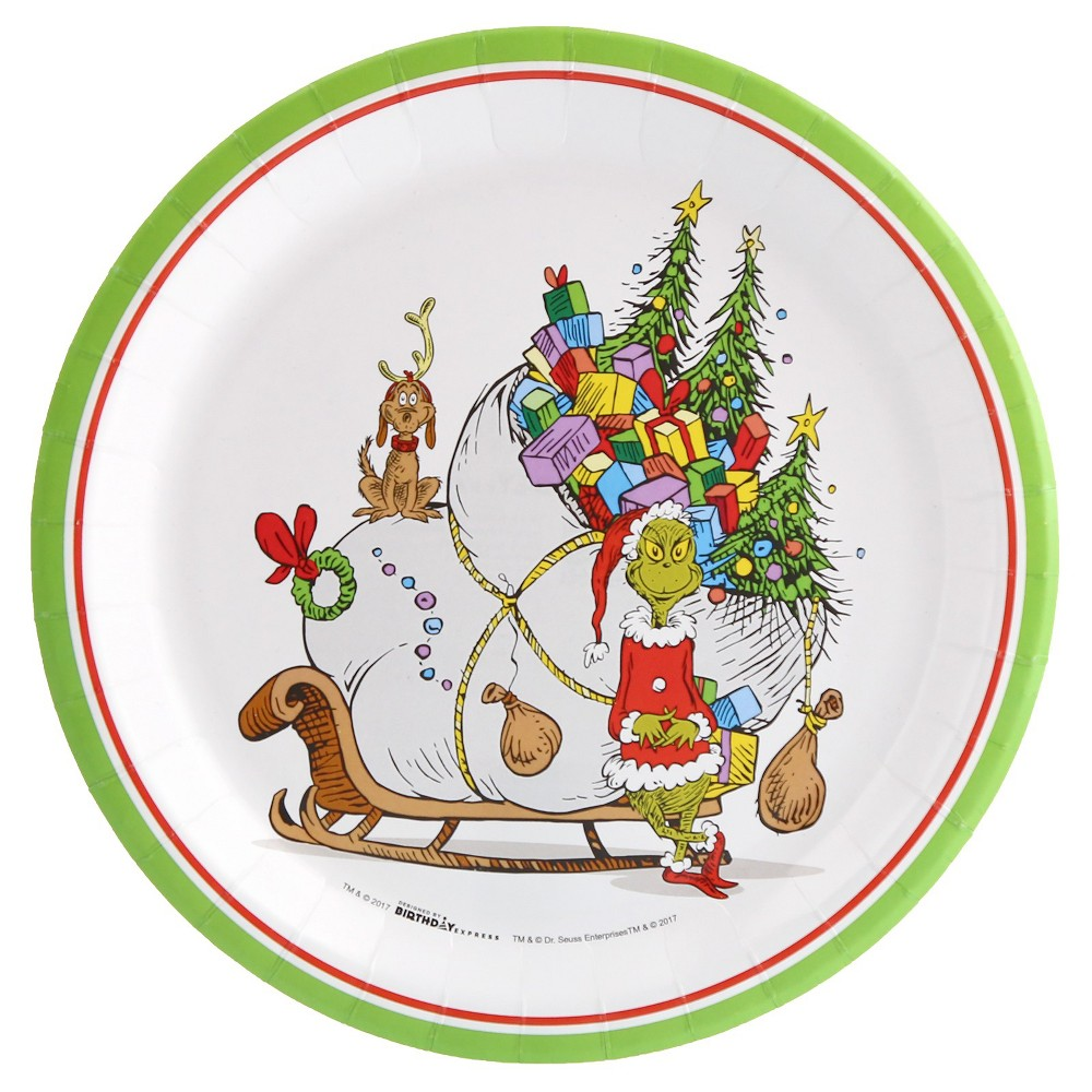 Image of 16ct BuySeasons Dr. Seuss Grinch Dinner Plate, Multicolored