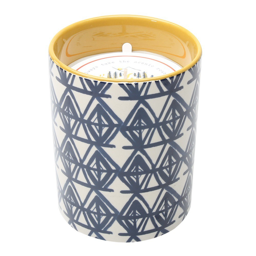 Image of Decaled Ceramic Candle Always Take the Scenic Route 15oz - Happy Place, Blue
