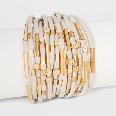Simulated Leather and Tube Slider Magnetic Bracelet - Universal Thread™ Natural