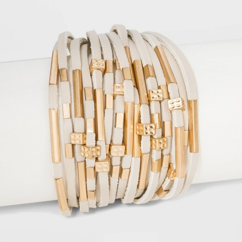 Simulated Leather and Tube Slider Magnetic Bracelet - Universal Thread™ Natural - image 1 of 1