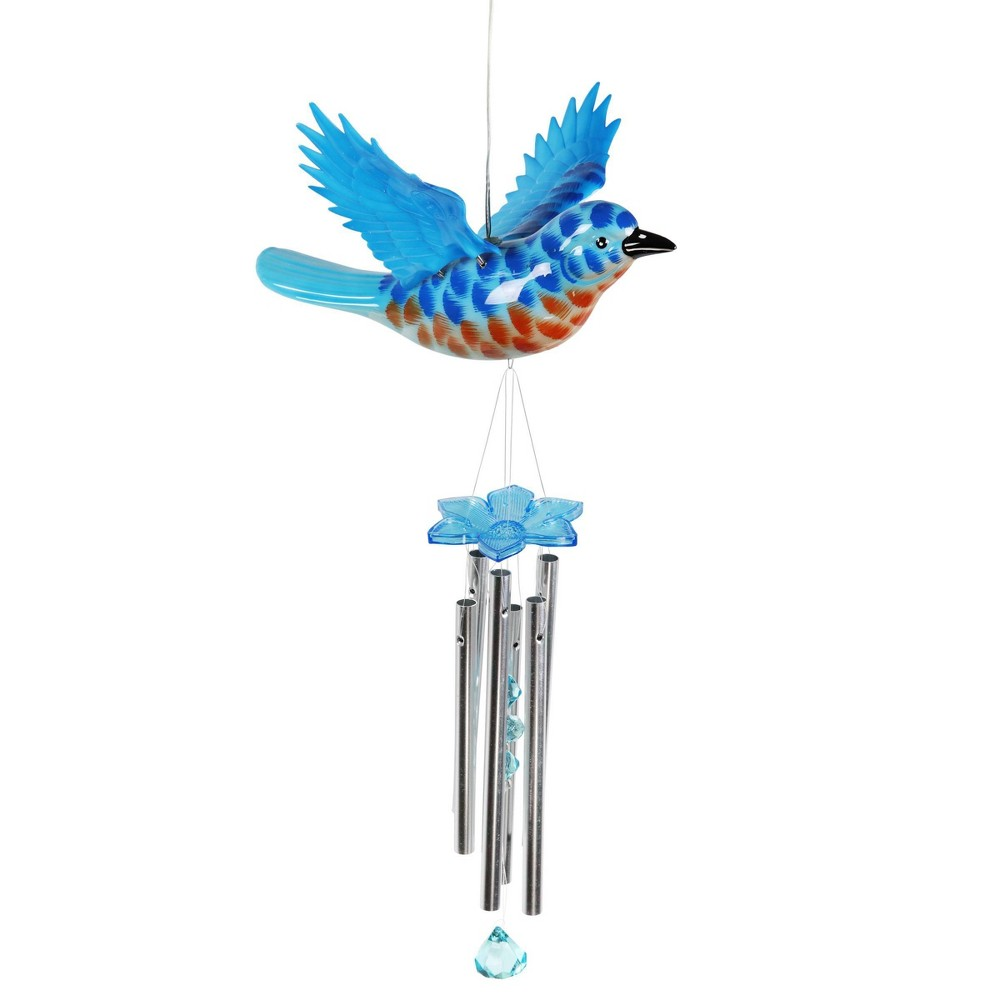 """Compare 9.25"""" Metal and Plastic Solar Bird Fluttering Wings Wind Chime Blue - Exhart"""