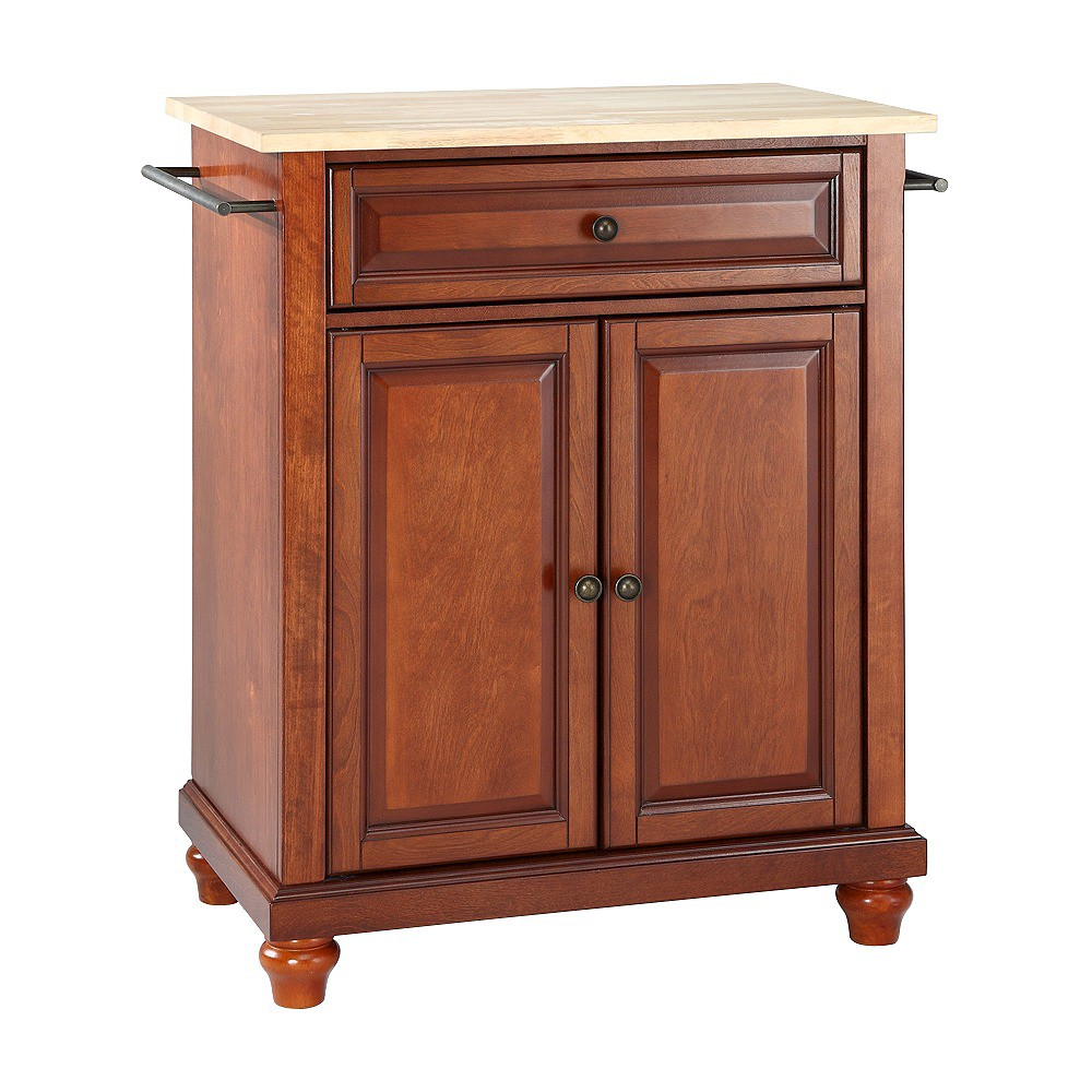 Cambridge Natural Wood Top Portable Kitchen Island - Classic Cherry (Red) - Crosley