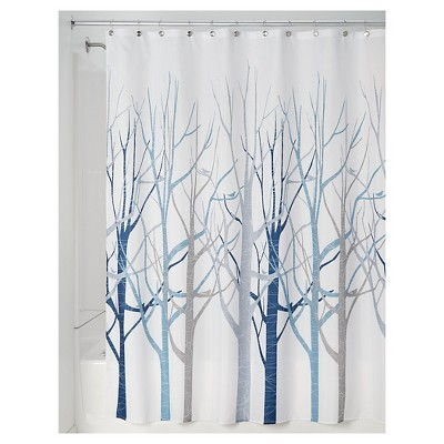 interDesign Forest Shower Curtains - Blue/Gray