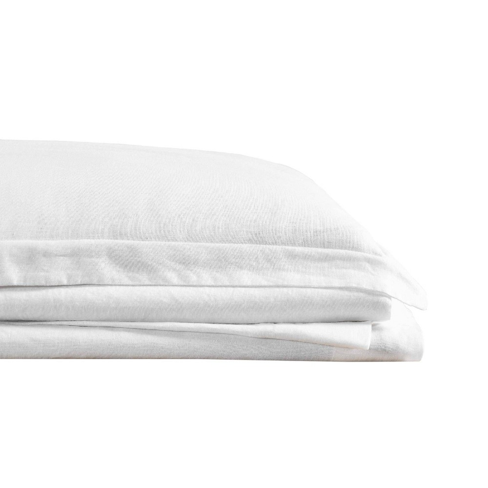 Image of Queen 300 Thread Count Linen Solid Sheet Set White - Brooklyn Loom