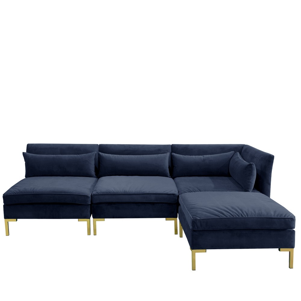 Image of 4pc Alexis Sectional with Brass Metal Y Legs Navy Velvet - Cloth & Company