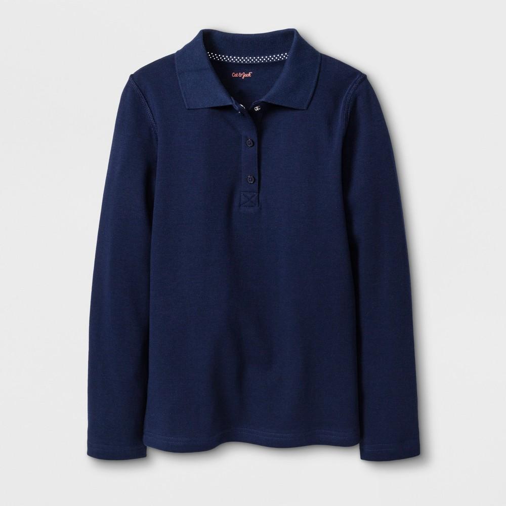 Girls' Adaptive Long Sleeve Uniform Polo Shirt - Cat & Jack Navy M, Blue