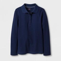 Girls' Adaptive Long Sleeve Uniform Polo Shirt - Cat & Jack™ Navy