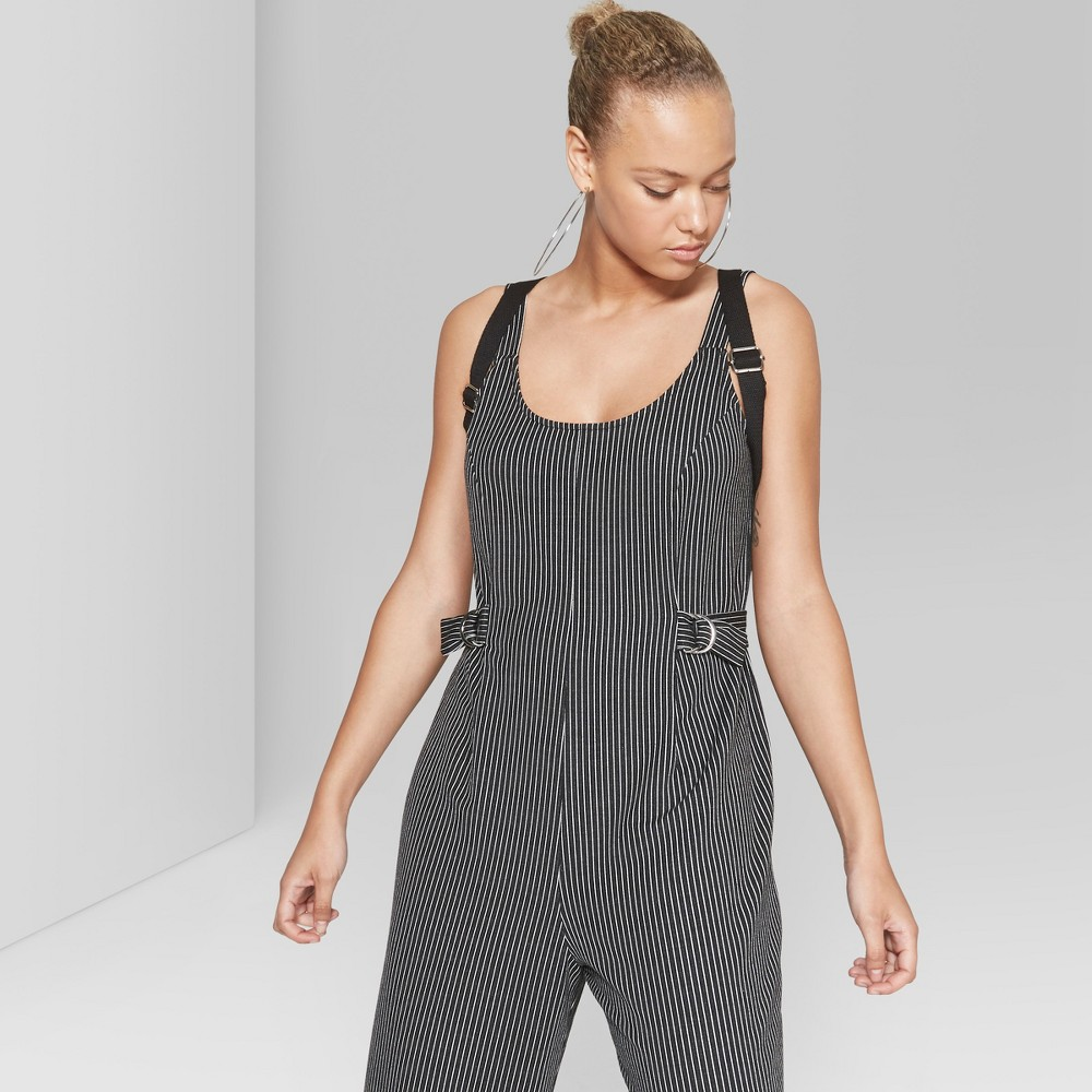 Women's Striped Cropped Woven Jumpsuit - Wild Fable Black/White XL