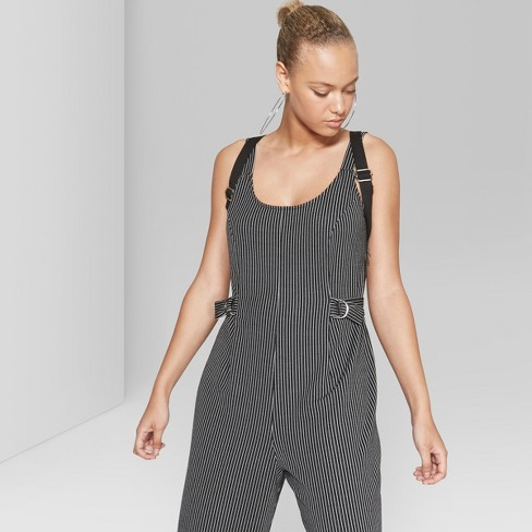 f6cf3d0b61 Women s Striped Cropped Woven Jumpsuit - Wild Fable™ Black White   Target