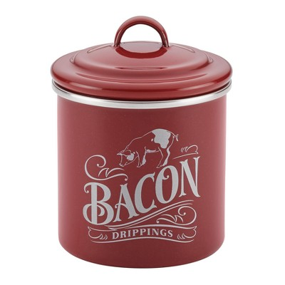 Ayesha Curry™ Enamel on Steel Bacon Food Storage Box 4 x 4  Sierra Red