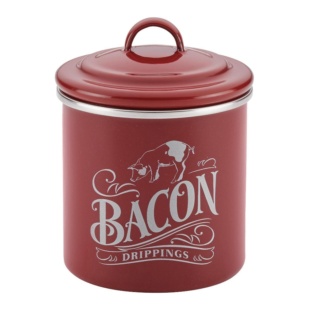 "Image of ""Ayesha Curry Enamel on Steel Bacon Food Storage Box 4""""x 4"""" Sierra Red, Sienna Red"""