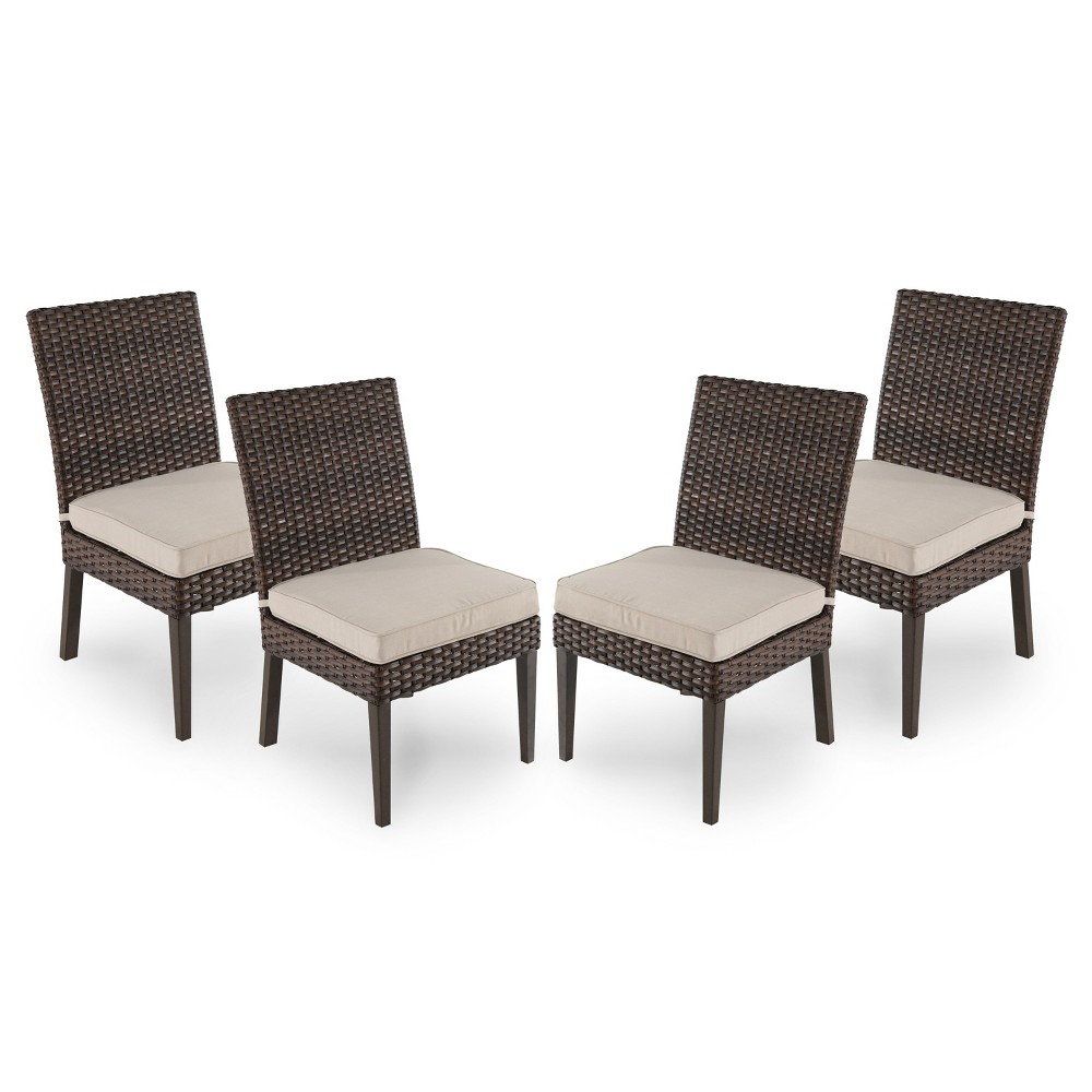 Halsted 4pk All-Weather Wicker Patio Dining Chair - Tan - Threshold