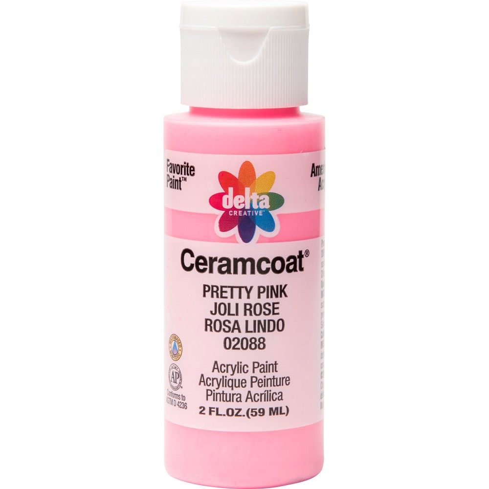 Image of 2 fl oz Acrylic Craft Paint Pretty Pink - Delta Ceramcoat