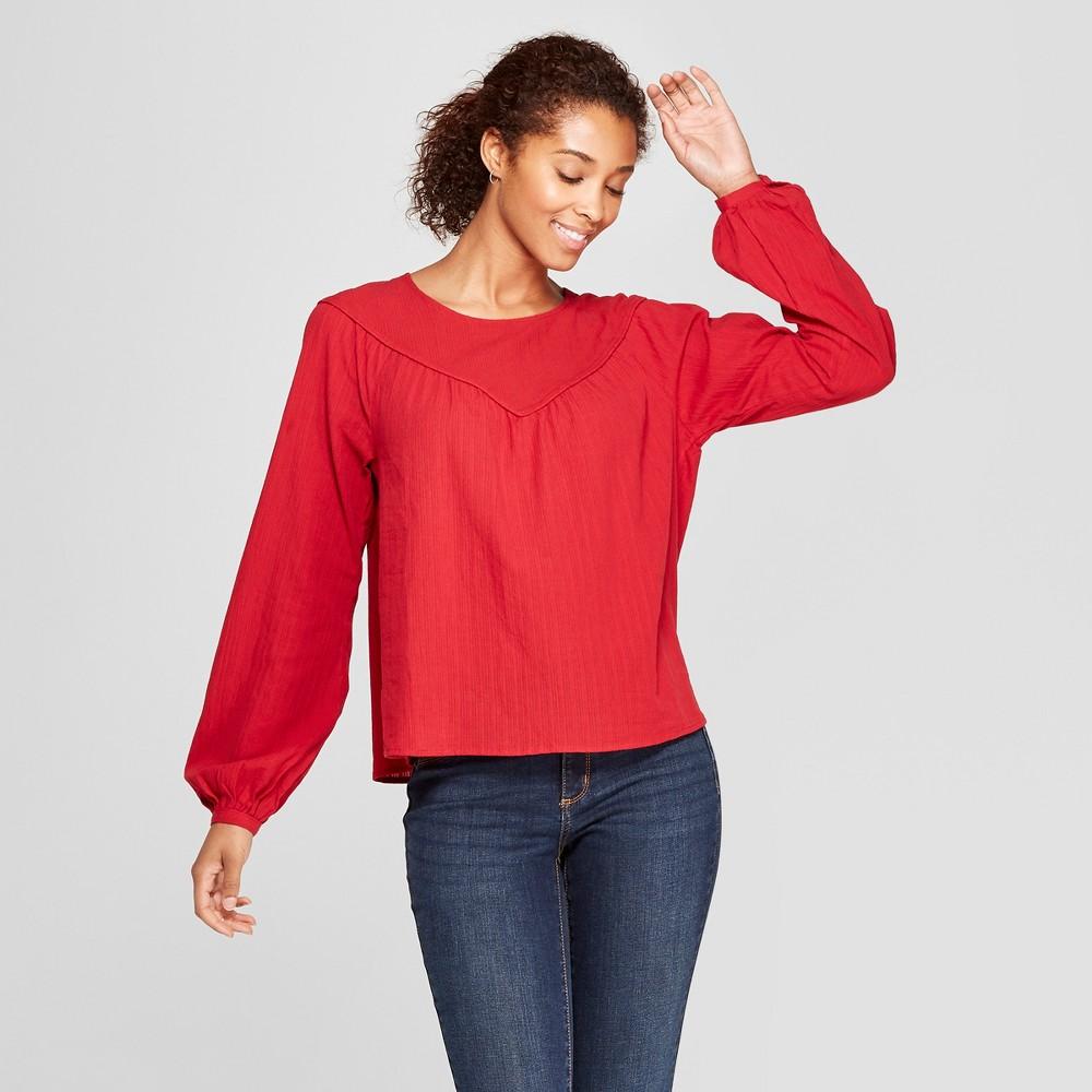 Women's Long Sleeve Yoke Detail Blouse - Universal Thread Red L