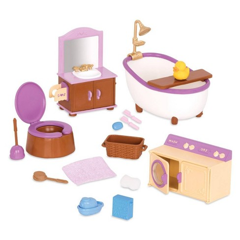 Li'l Woodzeez Miniature Furniture Playset 16pc - Bathroom & Laundry Set - image 1 of 4