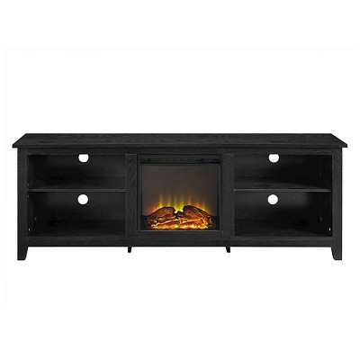 "70"" Modern Media Storage TV Stand with Electric Fireplace Black - Saracina Home"