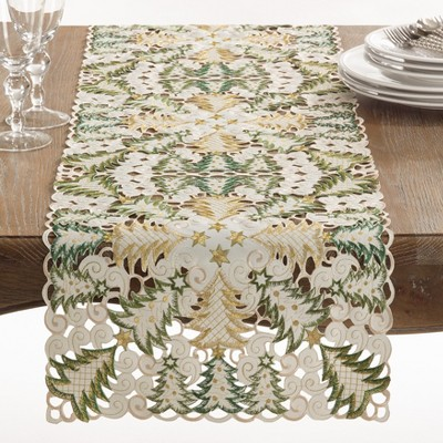 Saro Lifestyle Dining Table Runner With Christmas Tree Cutwork