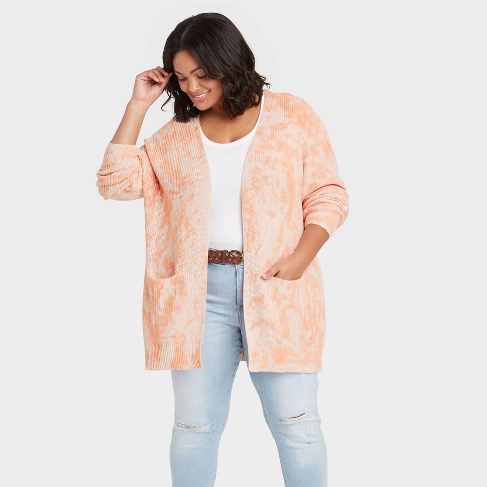 Women 39 S Plus Size Tie Dye Cardigan Universal Thread 8482 Light Coral 4x