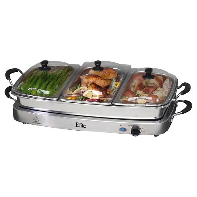 Elite Platinum Stainless Steel Deluxe 3 x 2.5-Quart Electric Buffet Server